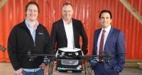 Flirted CEO Matt Sweeny, Domino's Pizza CEO Don Meij, and Simon Bridges, the New Zealand Minister of Transport, at the launch of the first commercial pizza delivery by drone.Source:Supplied