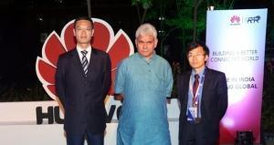 Left to Right - Mr. Jay Chen, CEO, Huawei India, Mr. Manoj Sinha, Minister, Telecom, Government of India along with William Zhao, CEO, R&D, Huawei India at the launch of Huawei's biggest Global Service Centre in Bengaluru (PRNewsFoto/Huawei)