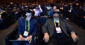 Attendees wear goggles to sample Virtual Reality during the Intel press conference at the 2017 Consumer Electronics Show in Las Vegas, Nevada, on January 4, 2017. Frederic J.Brown / AFP